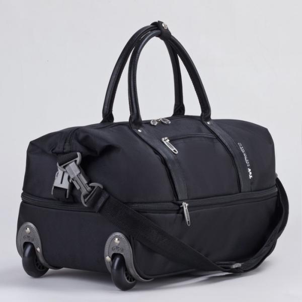 Сумка дорожная на колёсах, отдел на молнии, наружный карман, с расширением, длинный ремень, цвет чёрный