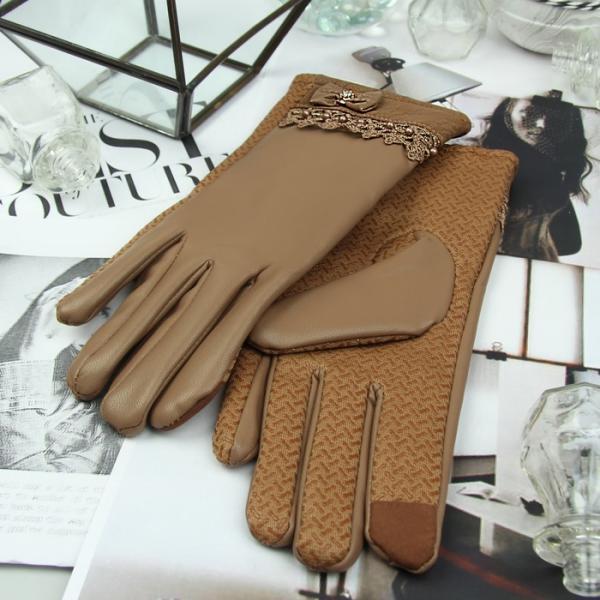 Перчатки женские безразмерные, комбинированные, без подклада, для сенсорных экранов, цвет бежевый