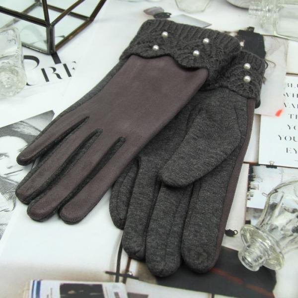 Перчатки женские, для сенсорных экранов, безразмерные, без подклада, цвет серый