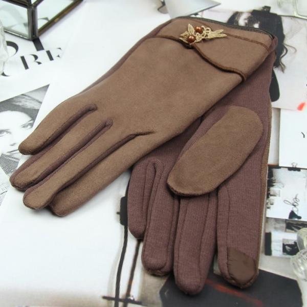 Перчатки женские безразмерные, без подклада, для сенсорных экранов, цвет коричневый