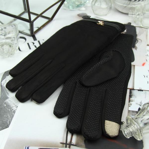 Перчатки женские безразмерные, подклад флис, для сенсорных экранов, цвет чёрный