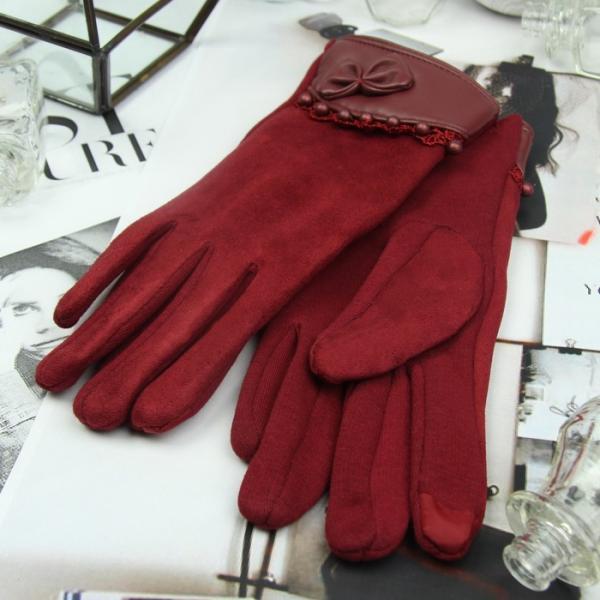 Перчатки женские безразмерные, без подклада, для сенсорных экранов, цвет бордовый