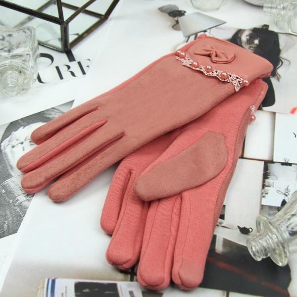 Перчатки женские безразмерные, без подклада, для сенсорных экранов, цвет пудра