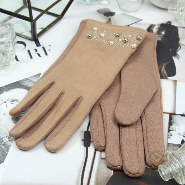 Перчатки женские, для сенсорных экранов, безразмерные, без подклада, цвет бежевый
