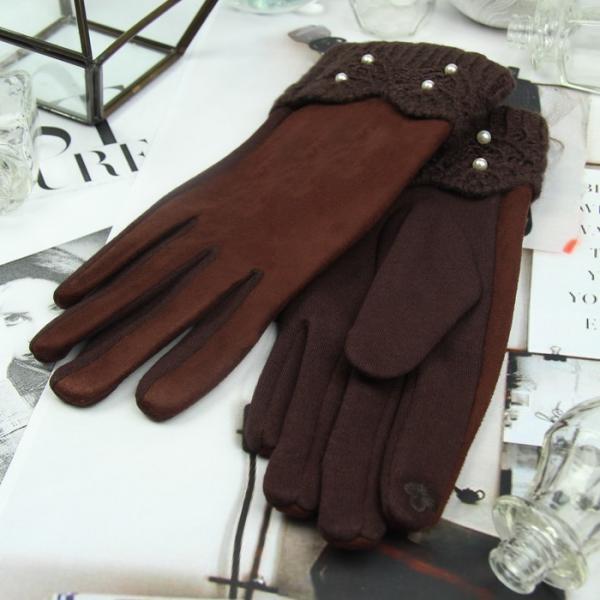 Перчатки женские, для сенсорных экранов, безразмерные, без подклада, цвет кофе