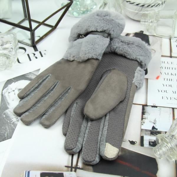 Перчатки женские безразмерные, без подклада, для сенсорных экранов, цвет серый