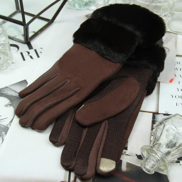 Перчатки женские безразмерные, без подклада, для сенсорных экранов, цвет кофе