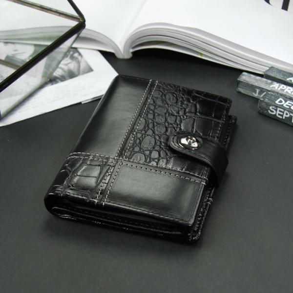 Портмоне женское 3 в 1 для автодокументов и паспорта, 2 отдела, для карт, для монет, цвет чёрный