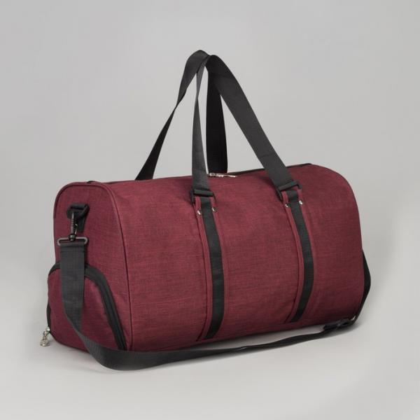 Сумка спортивная, отдел на молнии, наружный карман, карман для обуви, длинный ремень, цвет красный