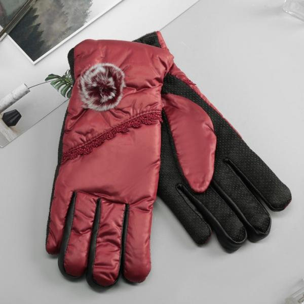 Перчатки женские утеплённые безразмерные, комбинированные, цвет бордовый