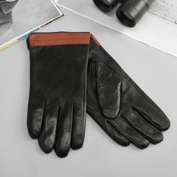 Перчатки мужские, р-р 11, гладкие, подклад флис, цвет чёрный/вставка коричневый