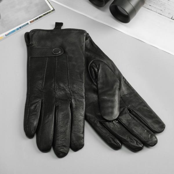 Перчатки мужские, р-р 10, подклад флис, цвет чёрный
