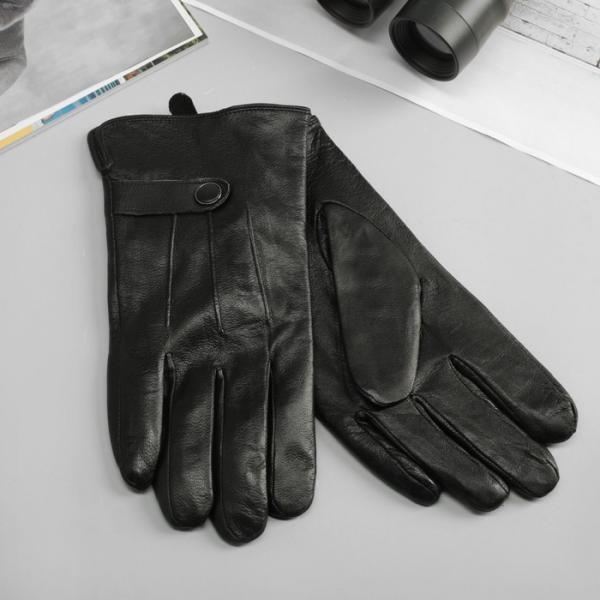 Перчатки мужские, р-р 11, подклад флис, цвет чёрный