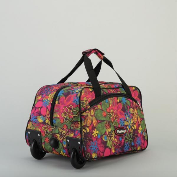 Сумка дорожная на колёсах, отдел на молнии, наружный карман, цвет чёрный/разноцветный