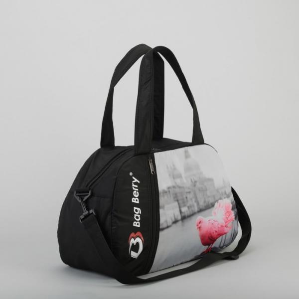 Сумка спортивная, отдел на молнии, наружный карман, регулируемый ремень, цвет чёрный/серый