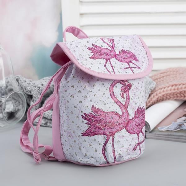 """Рюкзак детский """"Фламинго"""", отдел на шнурке, цвет розовый"""