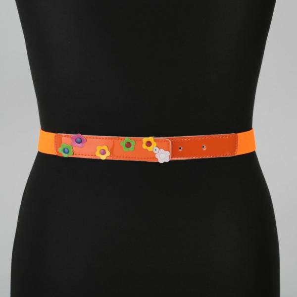 Ремень детский, ширина - 2,5 см, пряжка металл, цвет оранжевый