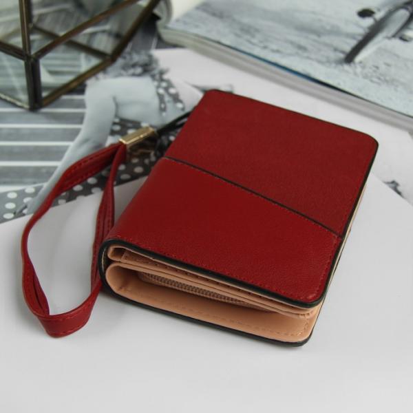 Кошелёк женский, 3 отдела, для карт, для монет, с ручкой, цвет бордовый
