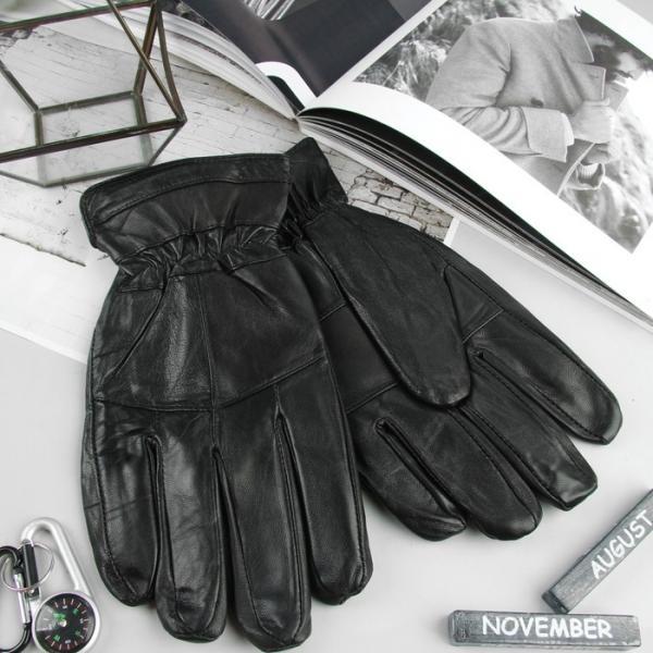 Перчатки мужские, размер 10,5, резинка, подклад флис, цвет чёрный