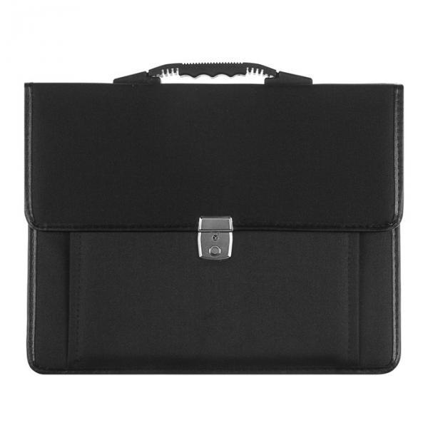 Портфель деловой ткань 380х290х10 мм «Сосново» чёрный , с плечевым ремнем