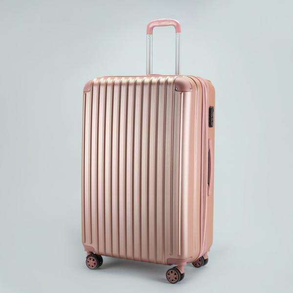 """Чемодан большой 28"""", отдел на молнии, с расширением, кодовый замок, 4 колеса, цвет розовый"""