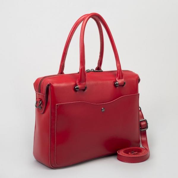 Сумка женская, отдел с перегородкой, 2 наружных кармана, длинный ремень, цвет красный