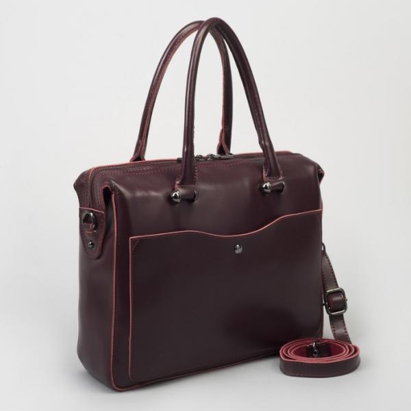Сумка женская, отдел с перегородкой, 2 наружных кармана, длинный ремень, цвет бордовый