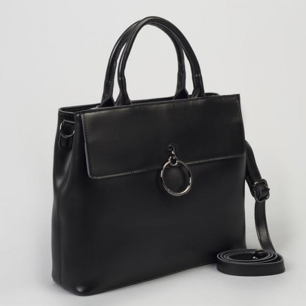 Сумка женская, отдел с перегородкой, 2 наружных кармана, длинный ремень, цвет чёрный