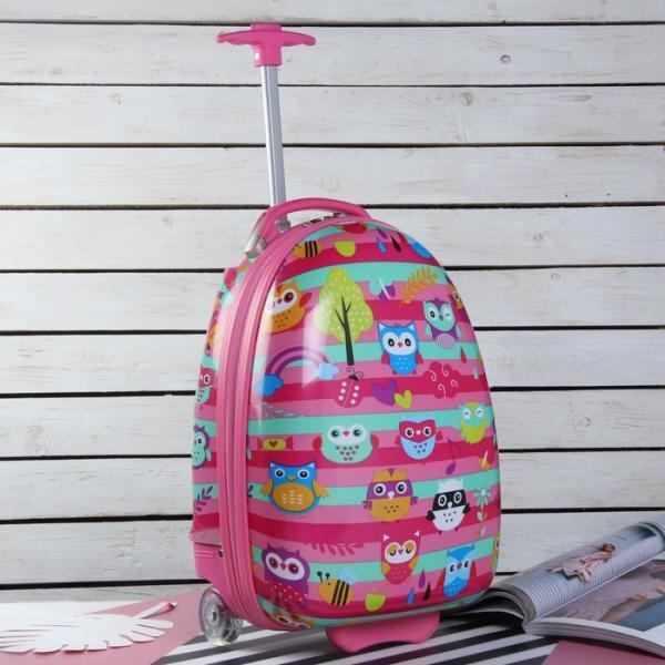 Чемодан детский «Совы на ветке», отдел на молнии, 2 колеса, цвет розовый
