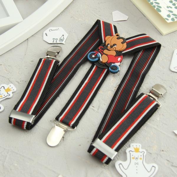 Подтяжки детские «Медведь на велосипеде», цвет чёрный/красный/серый