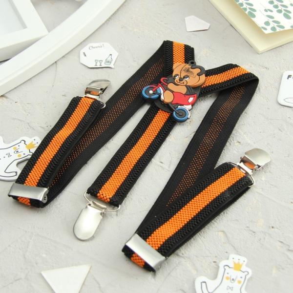Подтяжки детские «Медведь на велосипеде», цвет чёрный/оранжевый