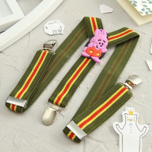 Подтяжки детские «Кролик», цвет зелёный/желтый/красный