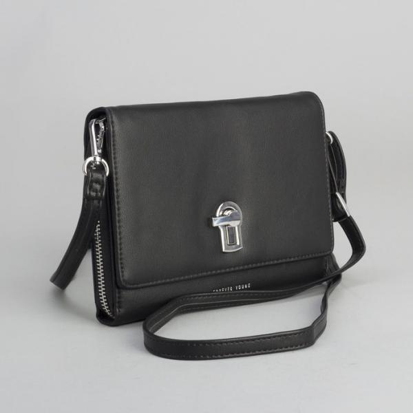Клатч-кошелёк, 2 отдела на молнии, для карт, длинный ремень, цвет чёрный