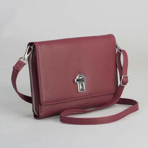 Клатч-кошелёк, 2 отдела на молнии, для карт, длинный ремень, цвет бордовый
