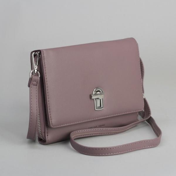 Клатч-кошелёк, 2 отдела на молнии, для карт, длинный ремень, цвет пудра