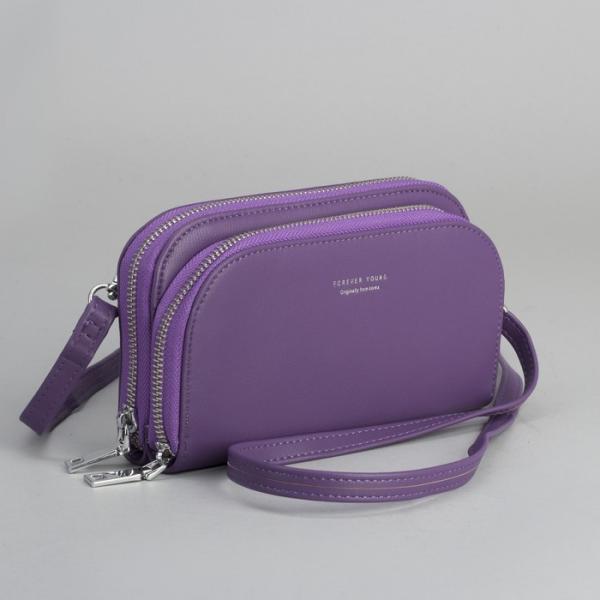 Клатч-кошелёк, 2 отдела на молнии, для карт, длинный ремень, цвет фиолетовый