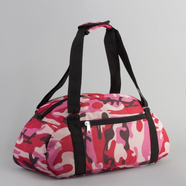 Сумка спортивная, отдел на молнии, наружный карман, цвет красный/розовый