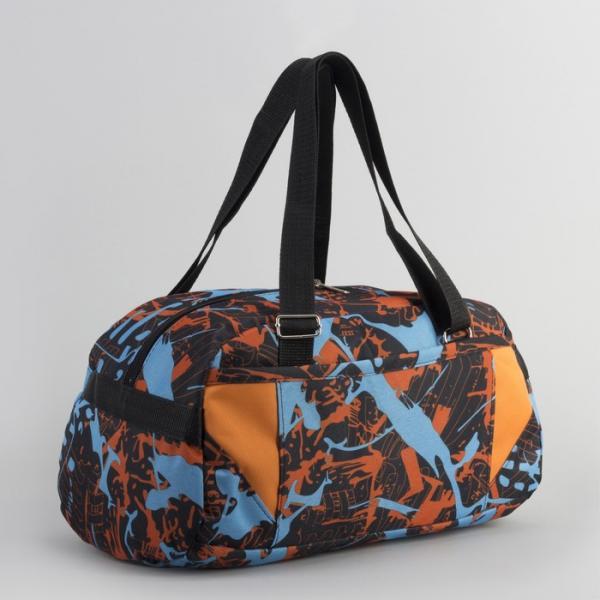 Сумка спортивная, отдел на молнии, наружный карман, цвет чёрный/оранжевый
