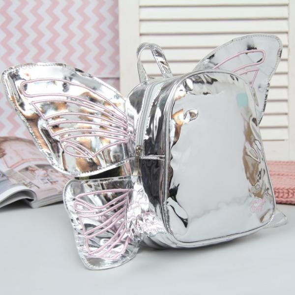 Рюкзак детский, отдел на молнии, с крыльями, цвет серебро