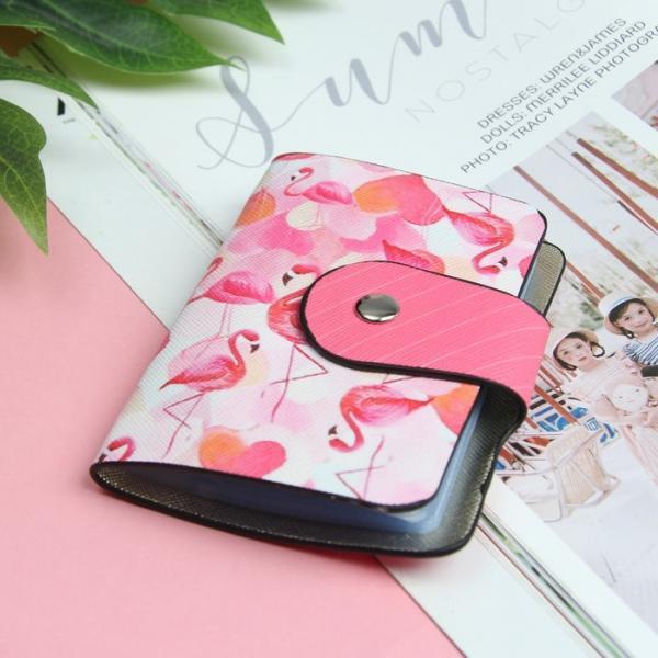 Визитница «Фламинго», вертикальная, 1 ряд, 24 кардхолдера, цвет розовый