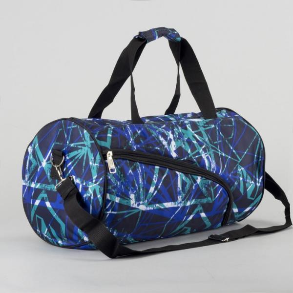 Сумка спортивная, отдел на молнии, наружный карман, длинный ремень, цвет чёрный/голубой