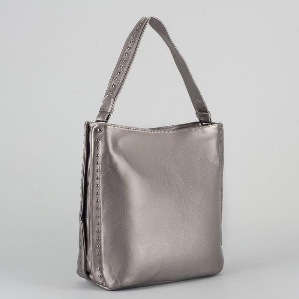 Сумка женская, отдел на молнии, наружный карман, цвет серебристый