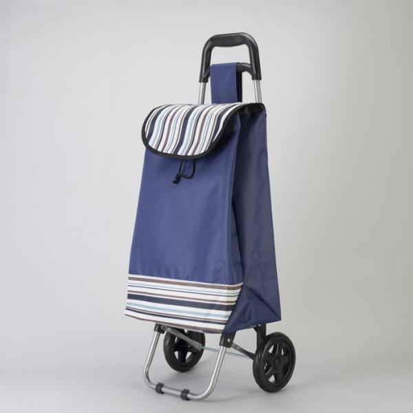Сумка хозяйственная на колёсах «Полоска», отдел на шнурке, нагрузка до 25 кг, цвет синий