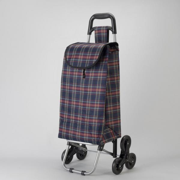Сумка хозяйственная на колёсах «Клетка», отдел на шнурке, наружный карман, 6 колёс, нагрузка до 20 кг, цвет синий