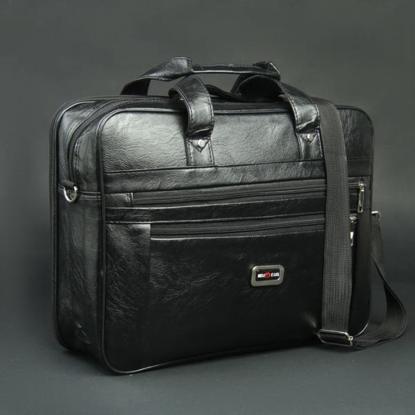 Сумка мужская, 2 отдела на молниях, 2 наружных кармана, длинный ремень, цвет чёрный