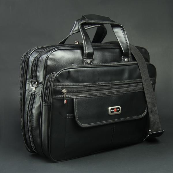 Сумка мужская, 2 отдела на молниях, 3 наружных кармана, крепёж для чемодана, длинный ремень, цвет чёрный
