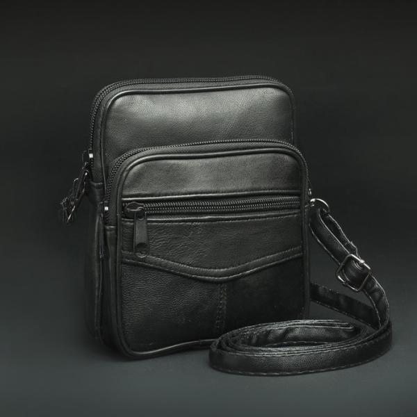 Сумка поясная, отдел на молнии, 2 наружных кармана, длинный ремень, цвет чёрный