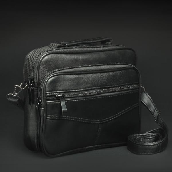 Сумка мужская, отдел на молнии, 4 наружных кармана, длинный ремень, цвет чёрный