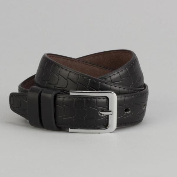 Ремень подростковый, ширина - 3 см, пряжка металл, цвет чёрный