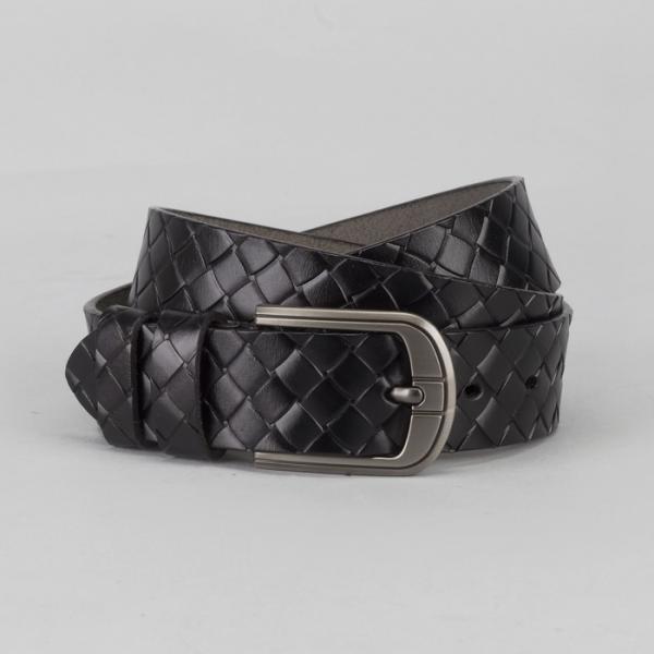 Ремень мужской, пряжка тёмный металл, ширина - 3,5 см, цвет чёрный